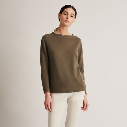 Casual Style Wool Cashmere Silk Boat Neck Long Sleeves Plain