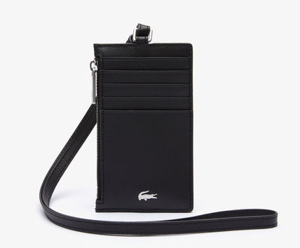 Unisex Street Style Plain Leather Logo Card Holders