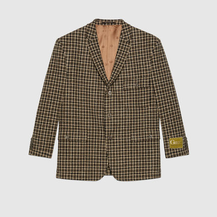GUCCI Short Other Plaid Patterns Wool Street Style Bridal Logo