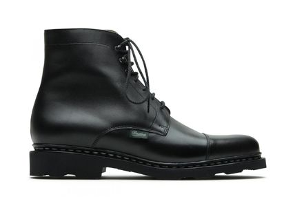 Straight Tip Plain Leather Boots