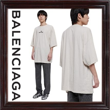 BALENCIAGA Crew Neck Crew Neck Plain Cotton Short Sleeves Logo Luxury
