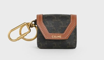 CELINE Envelop Airpods Keyring In Triomphe Canvas And Calfskin