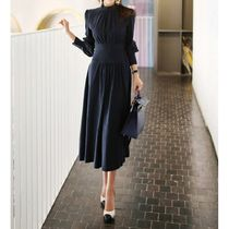 Maxi A-line Long Sleeves Plain Cotton Long Party Style
