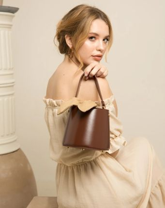 Casual Style 2WAY Leather Elegant Style Handbags