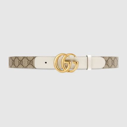 GUCCI Logo Casual Style Blended Fabrics Leather Cotton