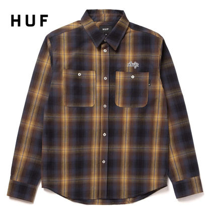 HUF Logo Other Plaid Patterns Skater Style Long Sleeves