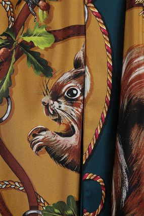 Dolce & Gabbana Casual Style Silk Long Sleeves Other Animal Patterns