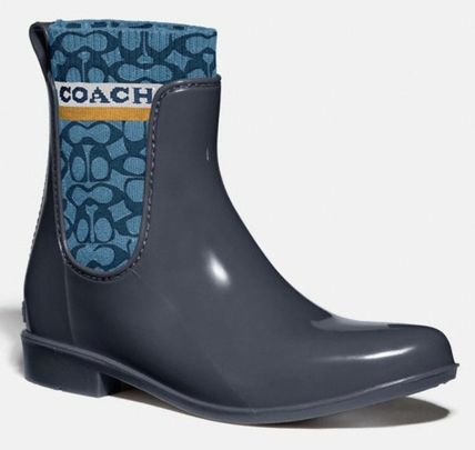 Coach Rubber Sole Plain Logo Flat Boots