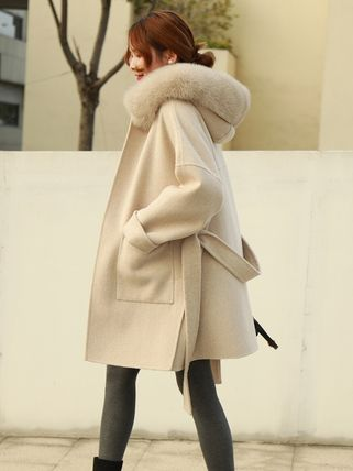 Stand Collar Coats Casual Style Wool Fur Plain Long