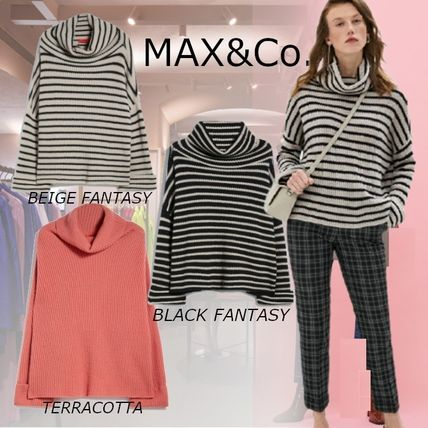 Max&Co. Stripes Casual Style Cashmere Rib Long Sleeves Medium
