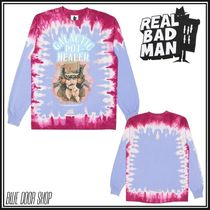 REAL BAD MAN Crew Neck Unisex Street Style Long Sleeves Cotton