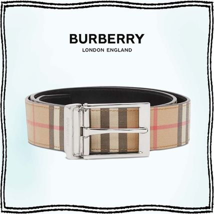 Burberry Other Plaid Patterns Leather Cotton Long Belt Logo Belts