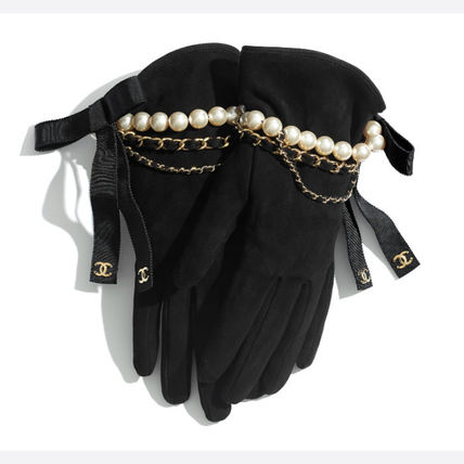 CHANEL Suede Plain Leather Logo Leather & Faux Leather Gloves