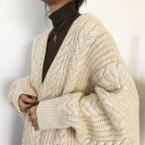 Cable Knit Casual Style Long Sleeves Long Oversized Sweaters