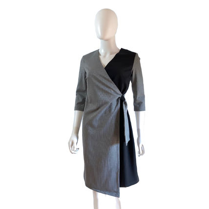 Wrap Dresses Short Glen Patterns Zigzag Casual Style Tight