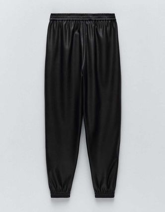 ZARA Casual Style Faux Fur Leather & Faux Leather Pants