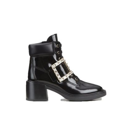 Casual Style Enamel Leather Ankle & Booties Boots