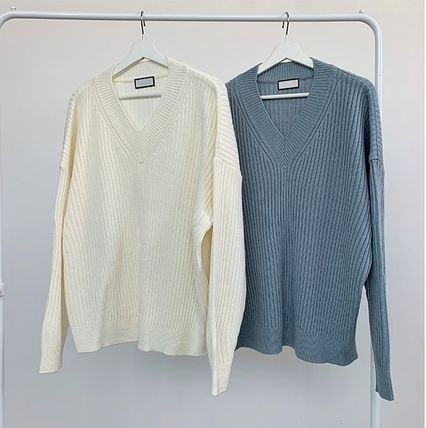 HUE Sweaters Unisex V-Neck Long Sleeves Plain Oversized Sweaters 17