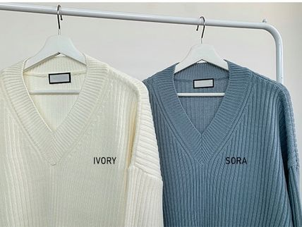 HUE Sweaters Unisex V-Neck Long Sleeves Plain Oversized Sweaters 18