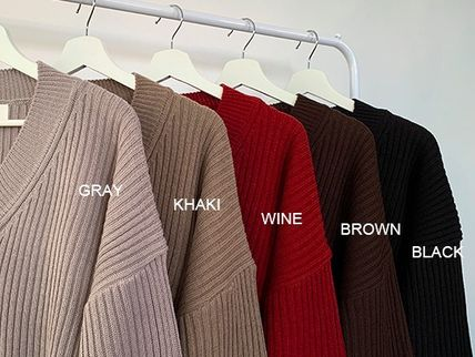 HUE Sweaters Unisex V-Neck Long Sleeves Plain Oversized Sweaters 19