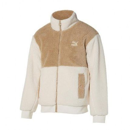 Short Unisex Plain Logo Fleece Jackets Outerwear