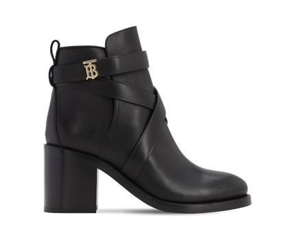 Burberry Plain Leather Block Heels Wedge Boots