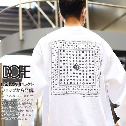 DOPE More T-Shirts Crew Neck Pullovers Paisley Unisex Street Style Long Sleeves
