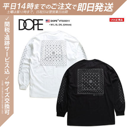 DOPE More T-Shirts Crew Neck Pullovers Paisley Unisex Street Style Long Sleeves 3