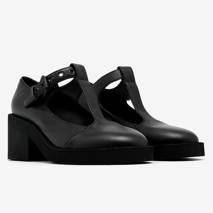 MM6 Maison Margiela Round Toe Rubber Sole Casual Style Plain Leather Block Heels