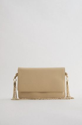 ZARA Casual Style Chain Plain Leather Party Style Elegant Style