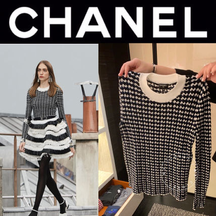 CHANEL ICON Crew Neck Other Plaid Patterns Casual Style Street Style