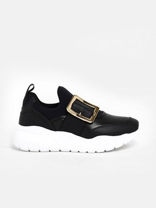 Rubber Sole Plain Leather Logo Low-Top Sneakers