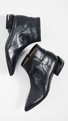 TOGA Wedge Cowboy Boots Casual Style Plain Leather Wedge Boots