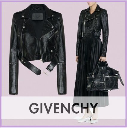 GIVENCHY Casual Style Street Style Plain Leather Logo