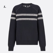 Christian Dior Crew Neck Casual Style Cashmere Long Sleeves Plain