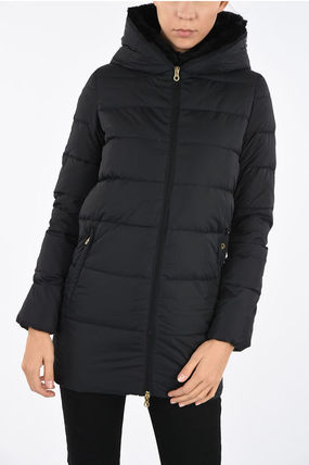 Fur Plain Medium Nylon Jacket  Down Jackets