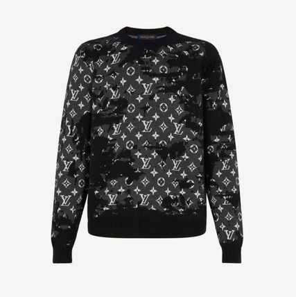 Louis Vuitton MONOGRAM Crew Neck Monogram Wool Nylon Long Sleeves Logo Luxury