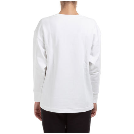 Crew Neck Street Style Long Sleeves Plain Cotton Medium Logo