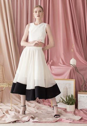 Chicwish Formal Style  Flared Skirts Casual Style Medium Party Style