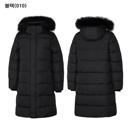 Street Style Plain Long Logo Down Jackets