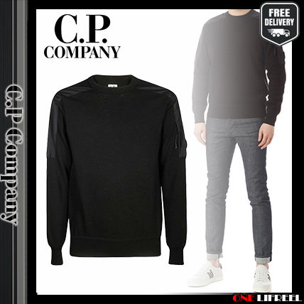 Logo Long Sleeves Plain Cotton V-neck & Crew neck