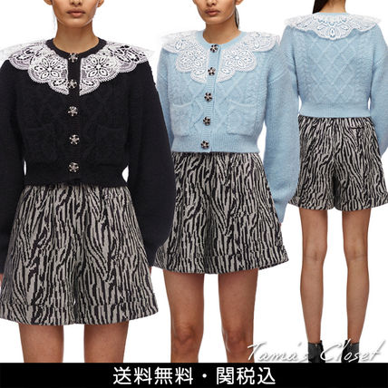 Casual Style Wool Long Sleeves Plain Lace Elegant Style