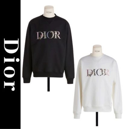 Christian Dior Sweatshirts Pullovers Flower Patterns Unisex Long Sleeves Cotton Logo