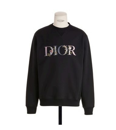 Christian Dior Sweatshirts Pullovers Flower Patterns Unisex Long Sleeves Cotton Logo 2