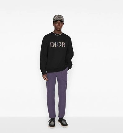 Christian Dior Sweatshirts Pullovers Flower Patterns Unisex Long Sleeves Cotton Logo 11