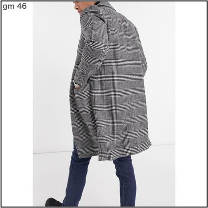 GOOD FOR NOTHING Glen Patterns Wool Street Style Long Chester Coats