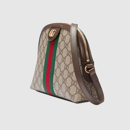 GUCCI GG Supreme Canvas Crossbody Logo Casual Style Blended Fabrics Leather