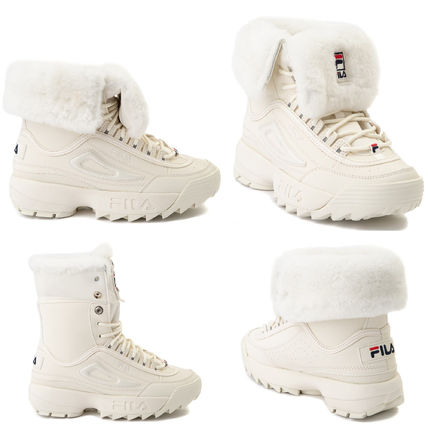 FILA Platform Rubber Sole Lace-up Casual Style Suede Faux Fur
