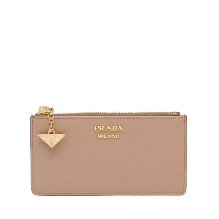 PRADA Saffiano Leather Card Holder With Charm