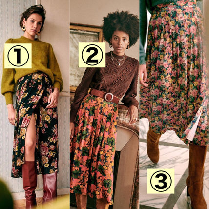 SEZANE Pencil Skirts Flared Skirts Flower Patterns Casual Style